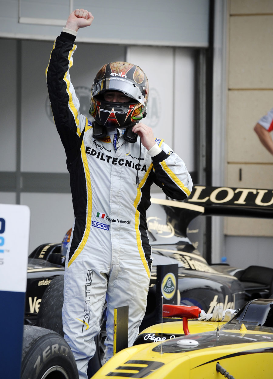 Davide Valsecchi celebrates victory in the feature race