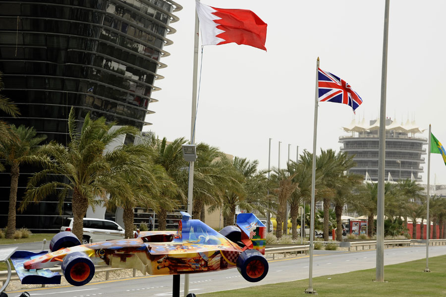The entrance to the Bahrain International Circuit on race day morning