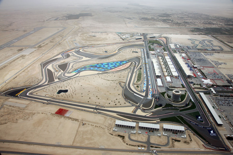 An aerial view of the Bahrain International Circuit on race day
