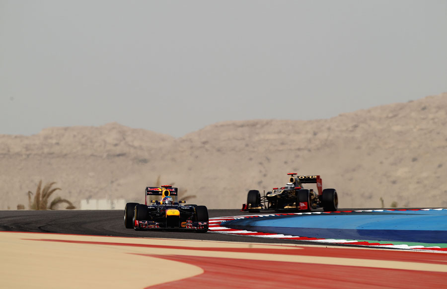 Sebastian Vettel leads Kimi Raikkonen late in the race