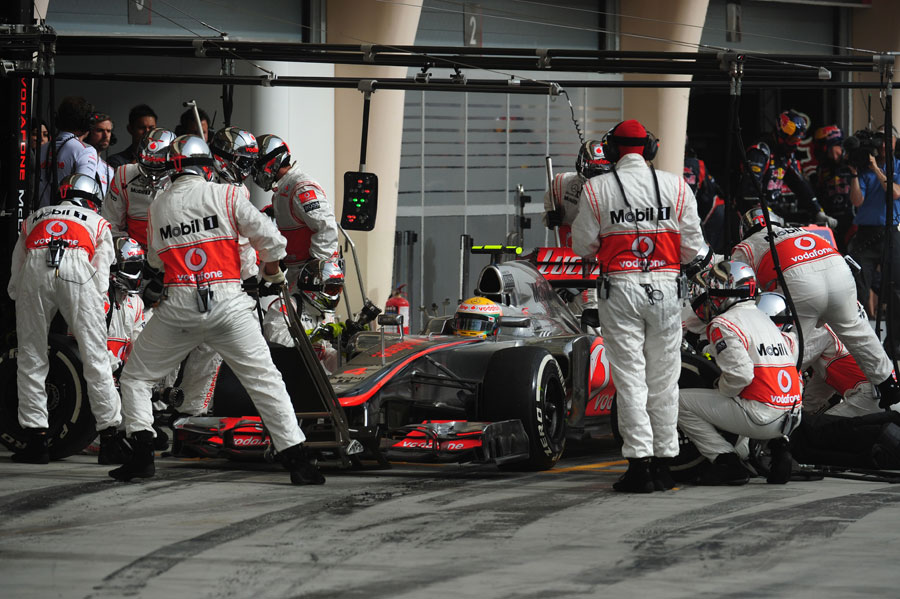 Delays at the left-rear during Lewis Hamilton's pit stop