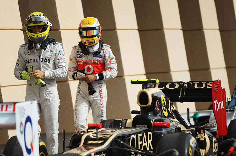 Nico Rosberg and Lewis Hamilton in parc ferme after the race