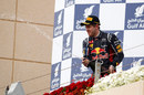 Sebastian Vettel celebrates on the podium