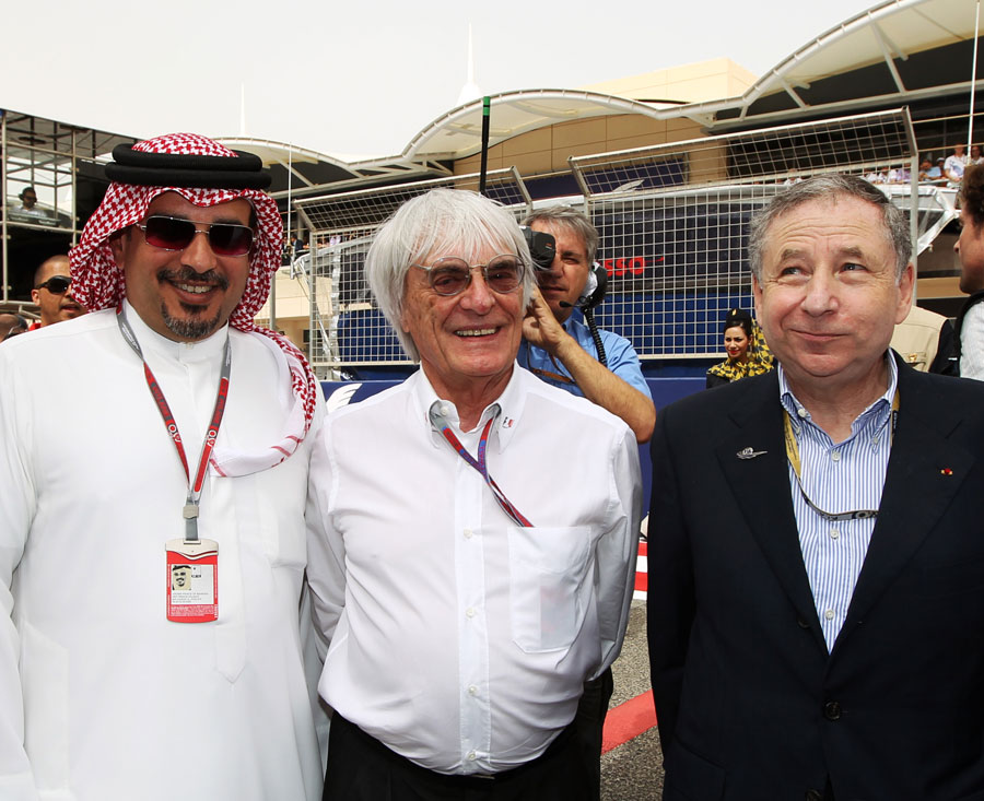 Crown Prince Shaikh Salman bin Isa Hamad Al Khalifa, Bernie Ecclestone and Jean Todt pose for a photo on the grid