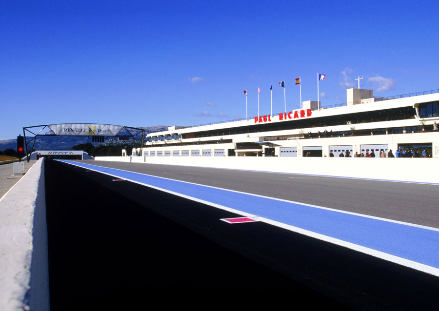 A general view of Paul Ricard's pit straight