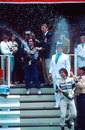 Nelson Piquet, Alain Prost and Keke Rosberg celebrate on the podium