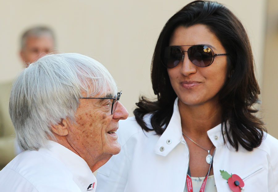 Bernie Ecclestone in the paddock with girlfriend Fabiani Flosi