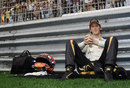 Romain Grosjean relaxes ahead of the race