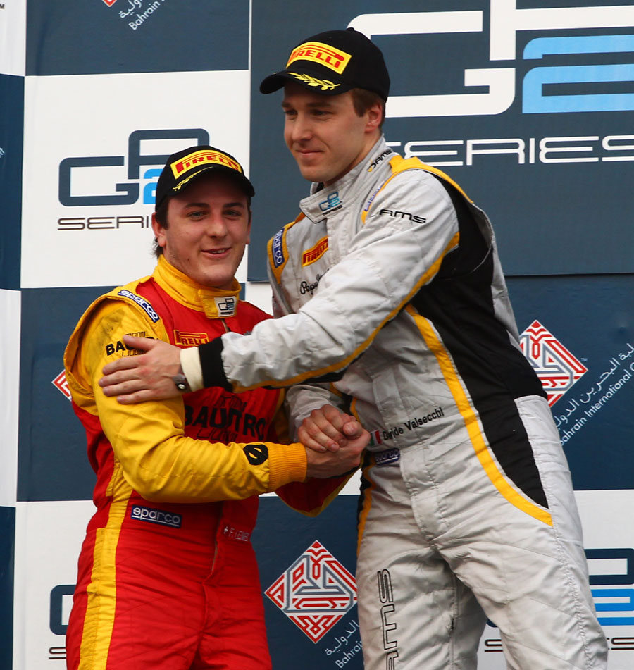 Race winner Davide Valsecchi with second-placed Fabio Leimer