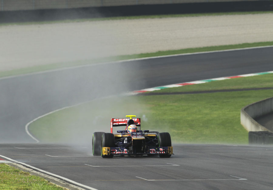 Jean-Eric Vergne on track in the Toro Rosso