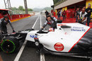 Kamui Kobayashi returns to the garage on intermediate tyres
