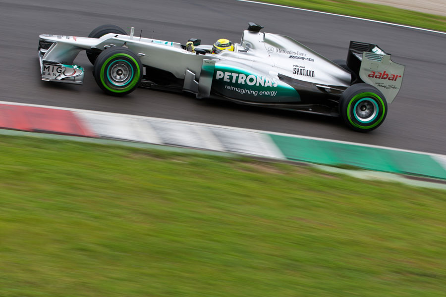 Nico Rosberg makes use of a set of intermediate tyres
