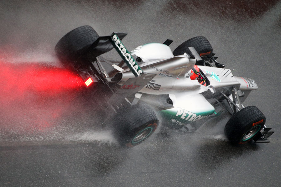 Michael Schumacher in the pit lane