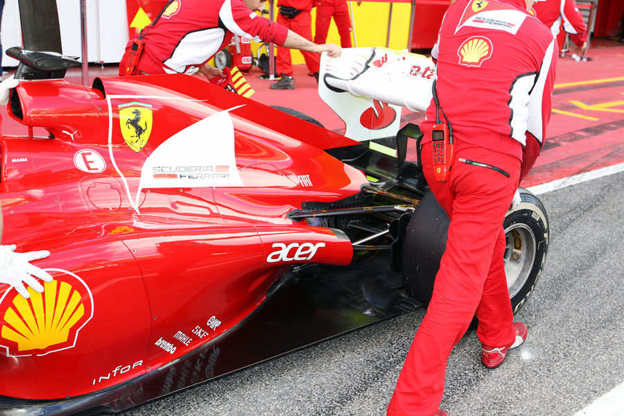 A close-up of the rear of the Ferrari
