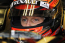 Romain Grosjean in the cockpit of the Lotus