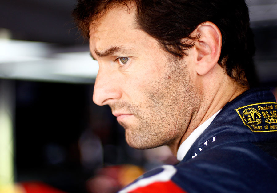 Mark Webber in the Red Bull garage ahead of the race