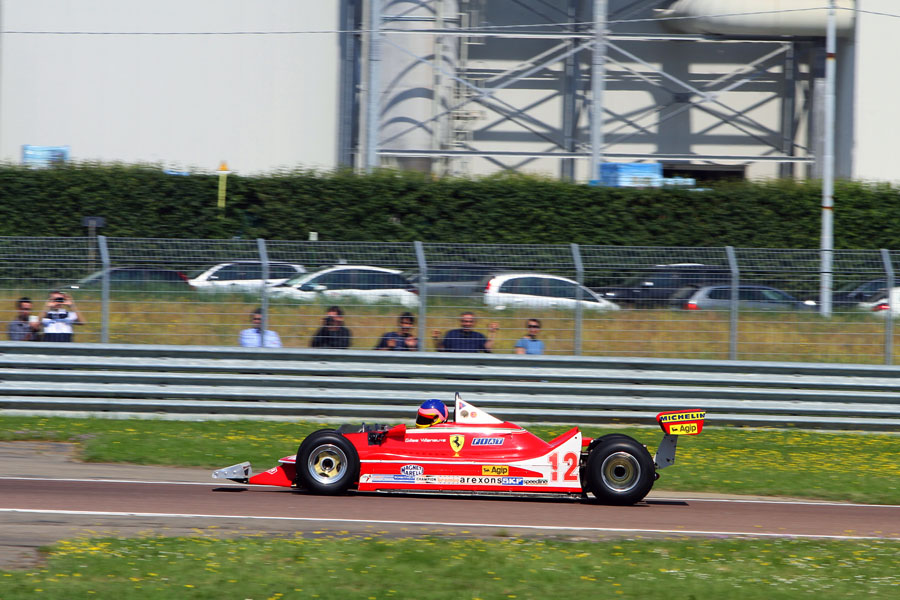 Jacques Villeneuve on track at Fiorano in a Ferrari 312 T4 to mark 30 years since the death of his father Gilles