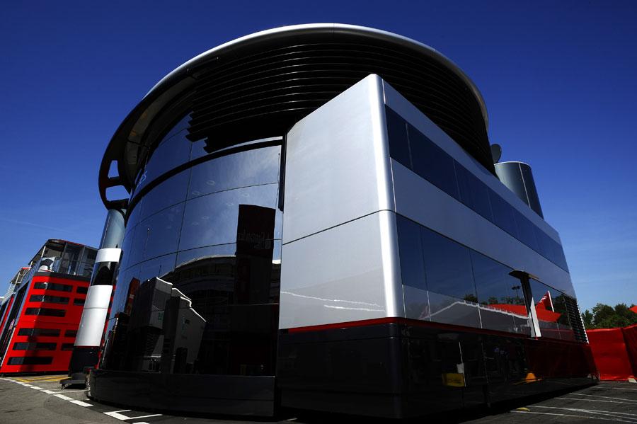 The McLaren motor home in the Barcelona paddock