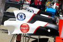 The Chelsea FC logo on the Sauber engine cover for the first time