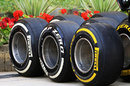 Soft and medium compound tyres in the paddock