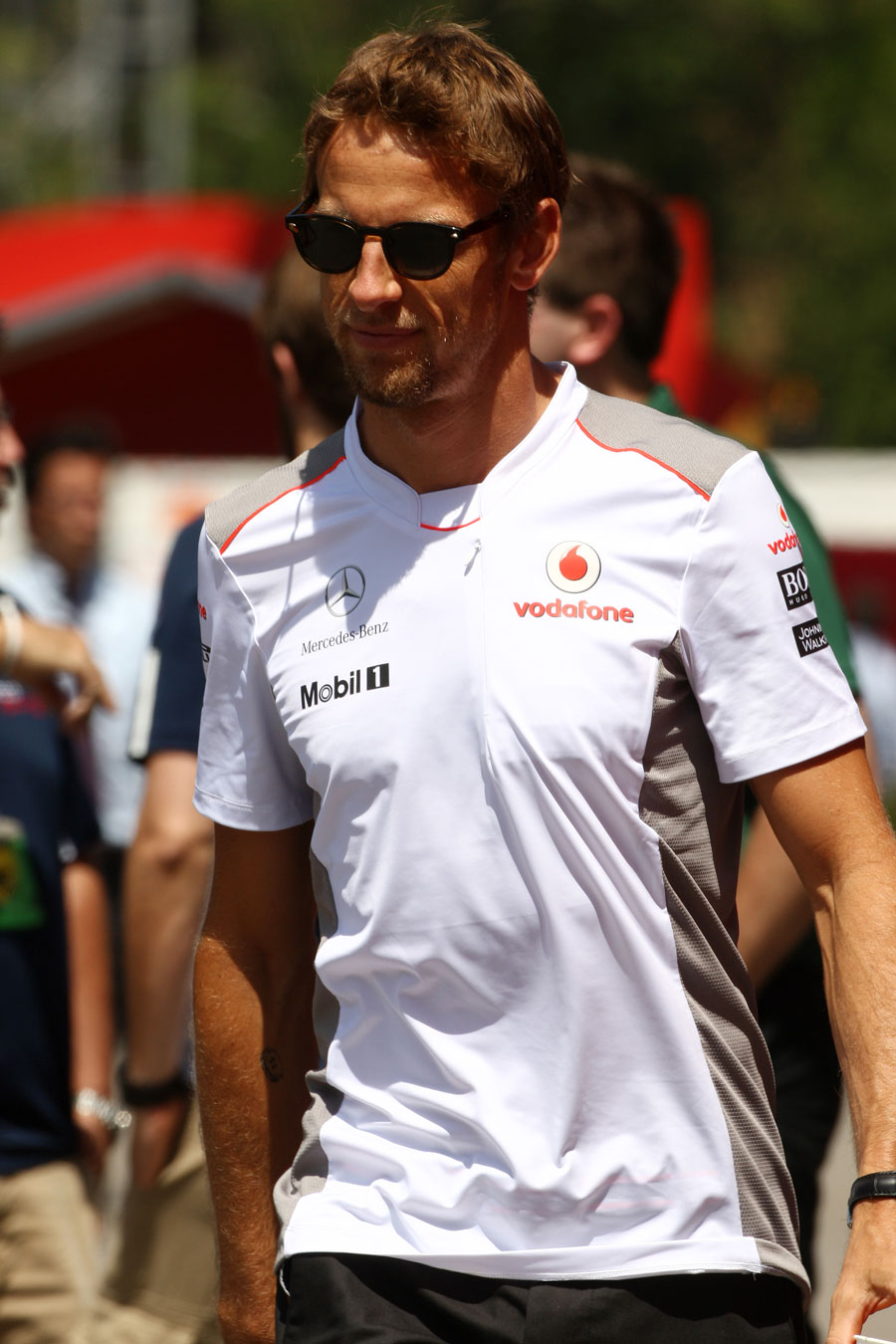 Jenson Button in the paddock on Thursday