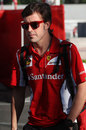 Fernando Alonso arrives at the circuit on Friday morning