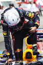 Sebastian Vettel climbs from his RB8 after qualifying