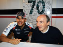 A delighted Pastor Maldonado at Sir Frank Williams' birthday party