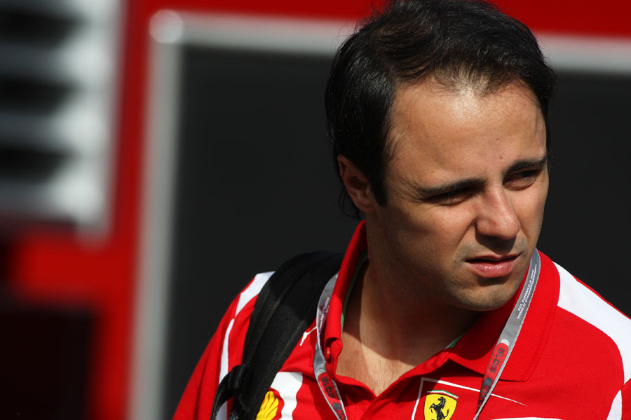 Felipe Massa arrives in the paddock