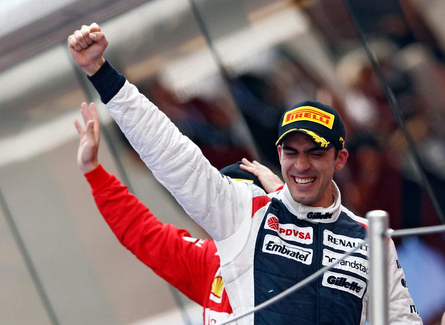 Pastor Maldonado celebrates his maiden win