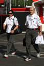 Peter Sauber and Monisha Kaltenborn arrive at the circuit on Saturday morning