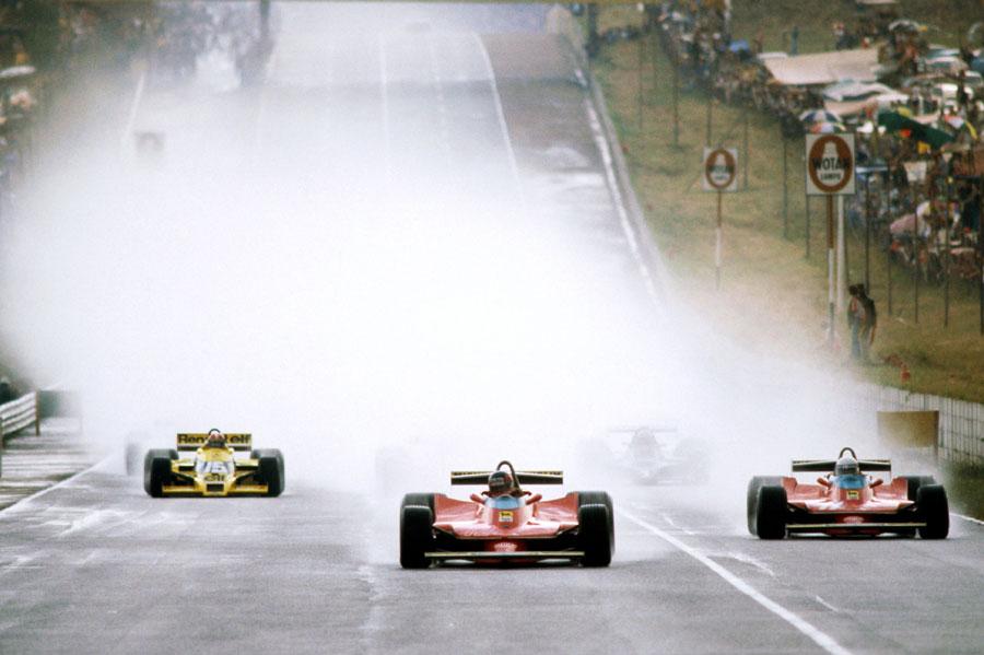 Gilles Villeneuve leads Jody Scheckter at the restart