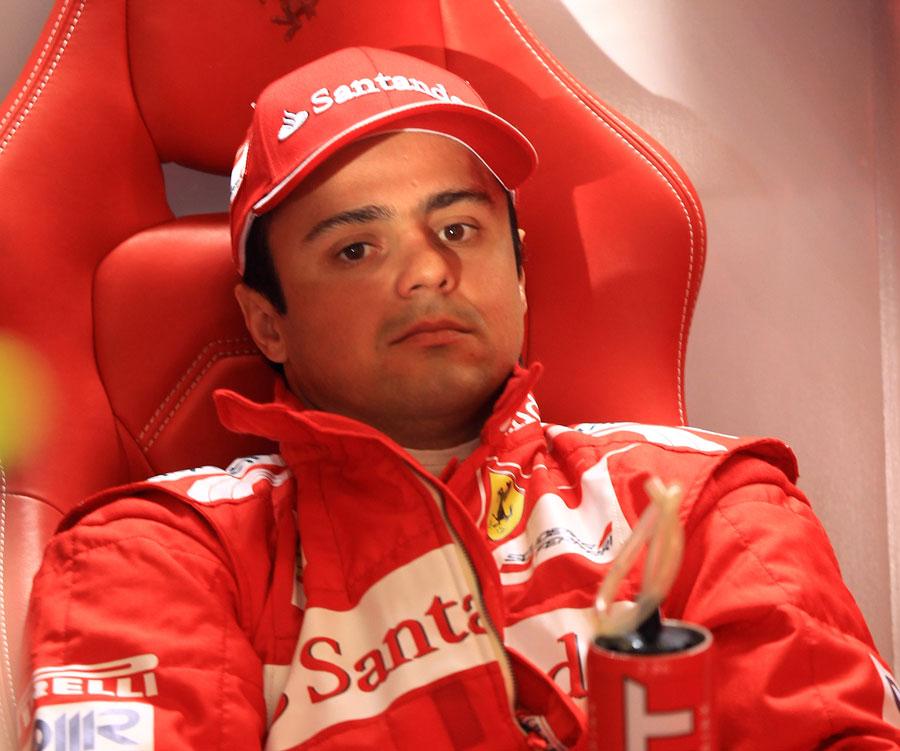 Felipe Massa in the Ferrari garage