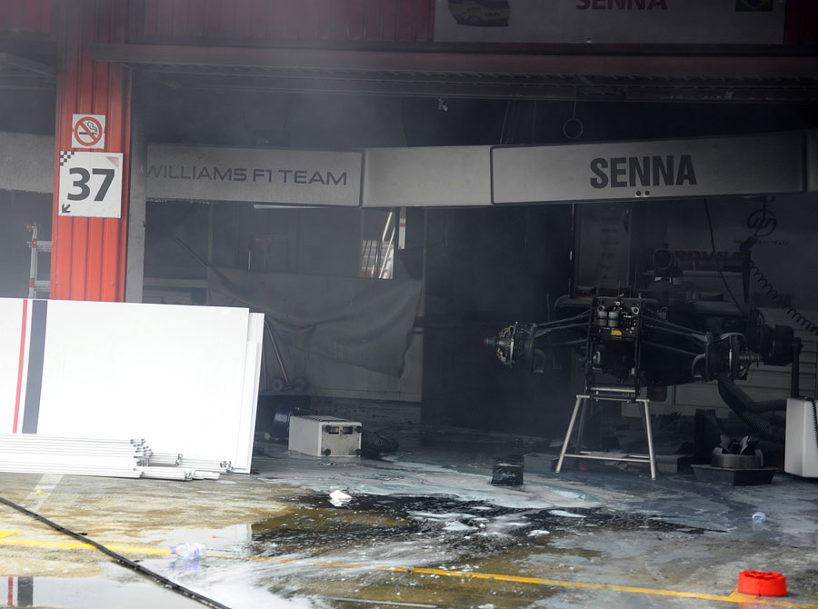 The aftermath of the blaze in the Williams garage