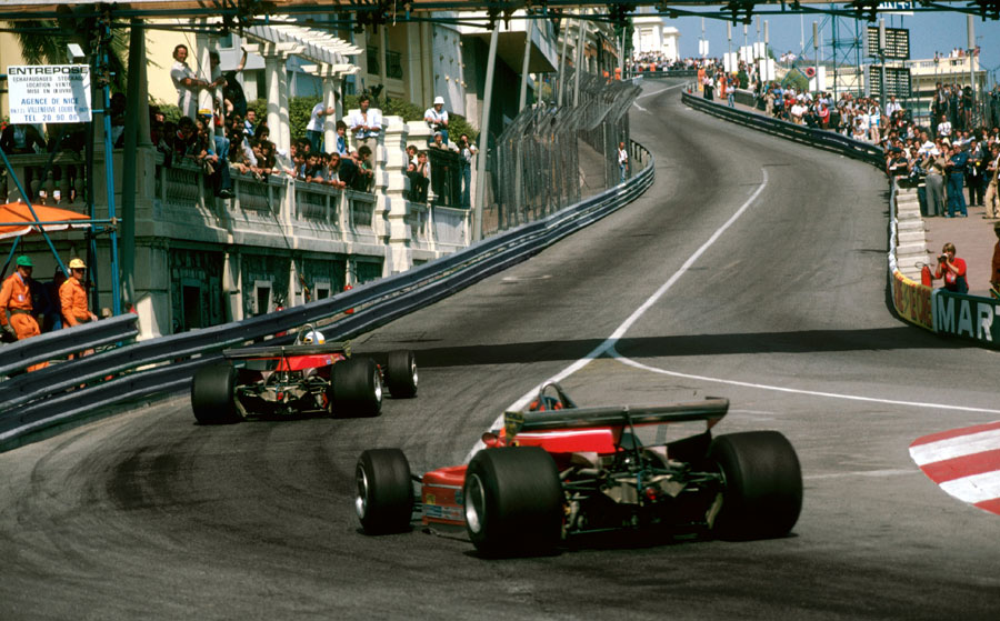 Jody Scheckter leads Gilles Villeneuve up the hill out of Ste Devote