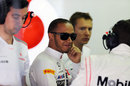 Lewis Hamilton in the McLaren pits