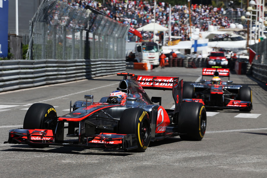 Jenson Button leads team-mate Lewis Hamilton