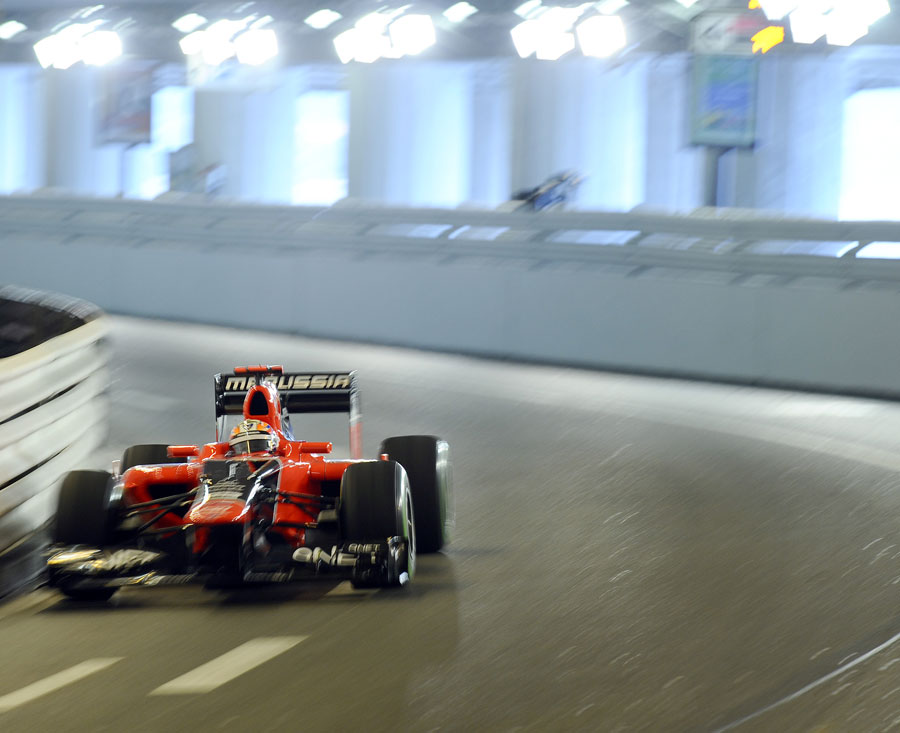 Timo Glock speeds through the tunnel