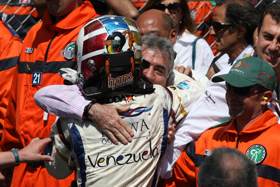 Johnny Cecotto celebrates his maiden GP2 victory in the Monaco feature race