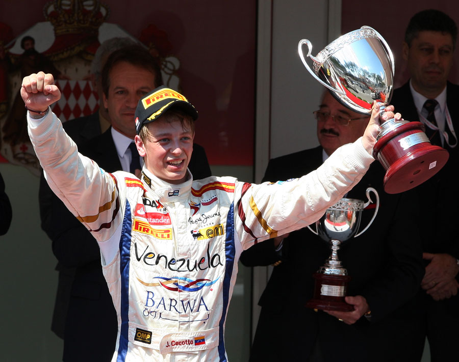 Johnny Cecotto celebrates his maiden GP2 victory