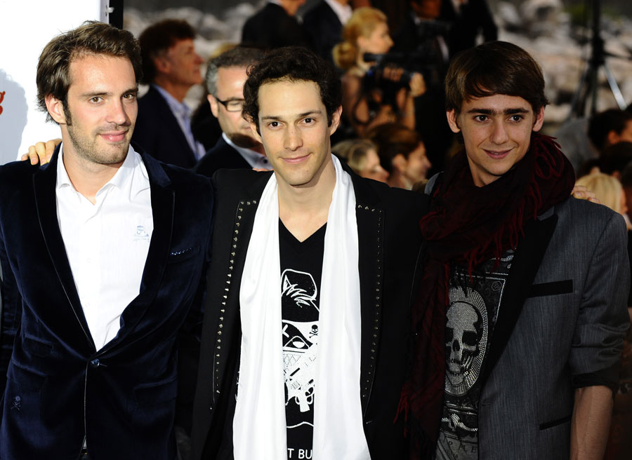 Jean-Eric Vergne, Bruno Senna and Esteban Gutierrez pose for a photo at the Amber Lounge fashion show