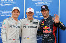 Michael Schumacher alongside Mark Webber and Nico Rosberg after setting the fastest time of qualifying