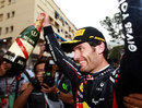 Mark Webber celebrates victory at Monaco