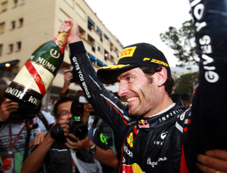 Mark Webber celebrates victory at Monaco