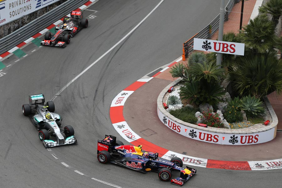 Mark Webber leads Nico Rosberg