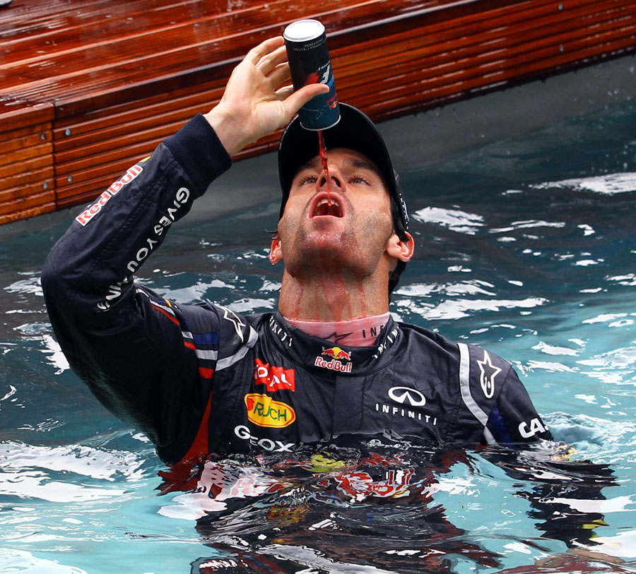 Mark Webber celebrates victory