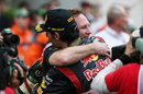 Christian Horner embraces race winner Mark Webber