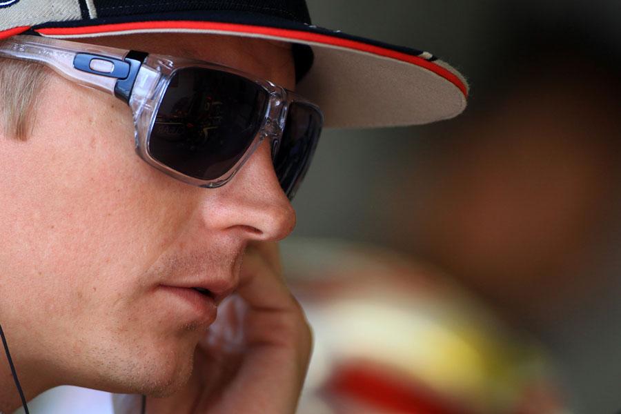 Kimi Raikkonen in the Lotus garage