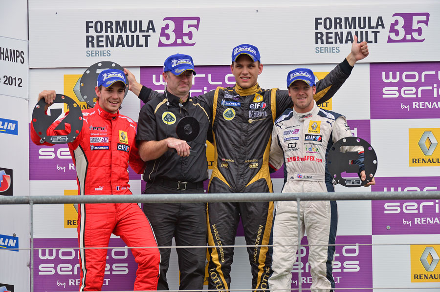 Marco Sorensen, Jules Bianchi and Sam Bird on the podium after race one