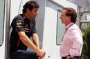 Christian Horner and Mark Webber talk in the paddock